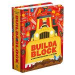 Buildablock 建筑工地 英文原版 Block立体认知书系列 色彩趣味认知厚纸板书 挖洞镂空异型书 艺术典范之