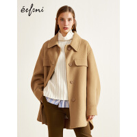 100%羊毛伊芙丽冬装毛呢外套宽松复古中长款双面呢大衣女