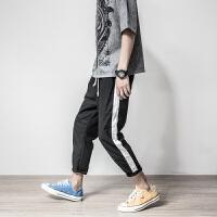日系复古九分亚麻裤男修身2018夏季条纹休闲小脚裤青年潮流锥形裤