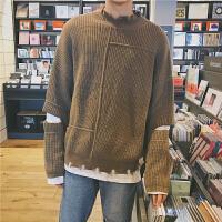 新款2018秋冬季韩版假两件个性毛边领套头针织衫原宿潮男宽松毛衣