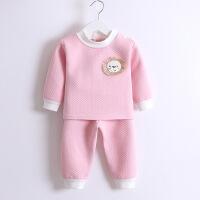 2019 秋冬婴儿加厚三层保暖衣儿童夹棉肩扣套装宝宝内衣两件套