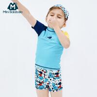 【618年中庆 2件3折价:60】迷你巴拉巴拉男童分体短袖泳衣套装男宝宝泳衣夏季新款撞色泳衣