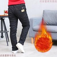 男童加绒加厚黑色牛仔棉裤冬季新款韩版休闲长裤儿童装中大童裤子