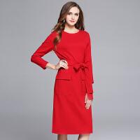 大红色连衣裙女秋新款气质淑女显瘦中长款修身名媛小香风长袖