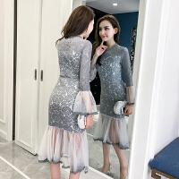 春季新款欧美风优雅蕾丝拼接网纱长袖包臀礼服鱼尾连衣裙