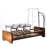 白酒杯套装 家用玻璃杯12只小一口杯烈酒杯酒具分酒器