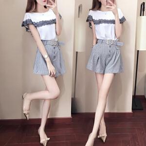 哆哆何伊2018新款夏天套装女潮韩版女装时髦套装短袖上衣加条纹短裤两件套