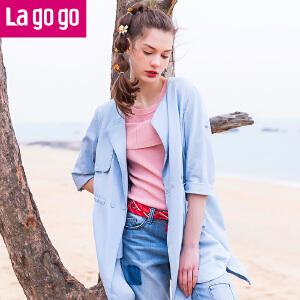 Lagogo拉谷谷2017夏季新款时尚口袋浅蓝色牛仔风衣薄外套女中长款