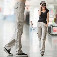 工装裤女多口袋长裤春夏装新款女士休闲裤宽松运动户外直筒裤子潮