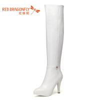 红蜻蜓秋冬新款百搭长筒靴女过膝高跟显瘦弹力靴粗跟高筒靴尖头长靴