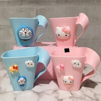 Kitty 叮当卡通儿童洗漱杯塑料牙缸杯可爱牙刷杯子韩国漱口杯情侣