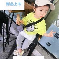 女宝宝春装套装0-6岁韩版潮新款童装卡通卫衣打底衫打底裤两件套