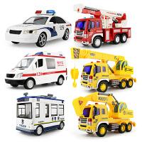 儿童惯性工程车救护车消fang车吊车惯性车警车洒水车汽车模型大号