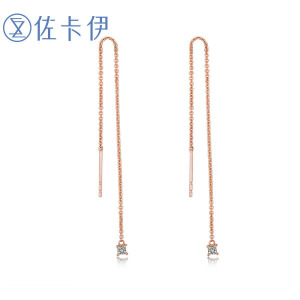 佐卡伊玫瑰18k钻石耳线时尚钻石耳坠女款耳钉耳饰女正品首饰