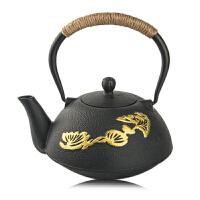 铸铁茶壶纯手工无涂层缠麻绳带滤网礼品铁壶铸铁泡茶烧水壶煮茶器电陶炉茶炉功夫茶具套装