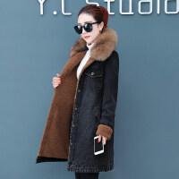 牛仔外套女秋冬季韩版宽松中长款加绒加厚深秋仿羊羔毛棉衣 黑色