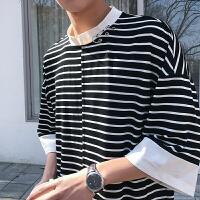 2018夏装新品个性铁环装饰短袖T恤男韩版青少年立领条纹宽松tee潮
