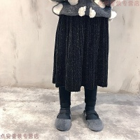 18秋冬新款韩国女童加绒加厚假两件裙裤儿童闪闪丝绒百褶裙打底裤 140CM 15码