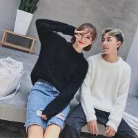 新款情侣装秋冬男女时尚韩版圆领套头毛衣修身针织衫学生线衣外套