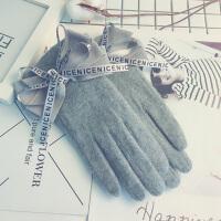 羊毛手套女秋冬季加绒加厚保暖羊绒骑开车触屏韩版可爱薄学生手套