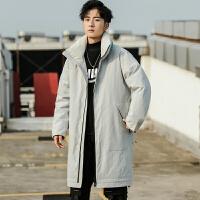羽绒服男潮中长款潮流帅气韩版大衣男士派克服冬季新款工装宽外套