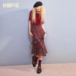 【低至1折起】妖精的口袋套装秋女酒红色两件套修身时尚秋装2018新款显瘦套装