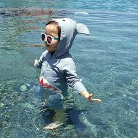 潮儿童泳衣连体鲨鱼可爱男女童小中童宝宝防晒游泳衣泳裤