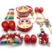 儿童玩具铃铛 手摇铃 木制串铃鼓 婴儿铃铛玩具 拨浪鼓 沙球03612宝宝 红色 猫头鹰拨浪鼓16件
