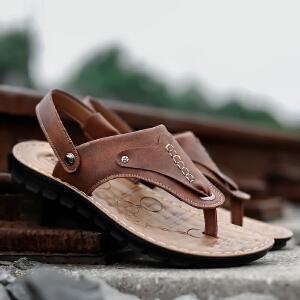宜驰 EGCHI 凉鞋男士套脚夹趾头层牛皮凉鞋子男拖鞋 14503