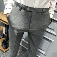 春装新款英伦时尚休闲裤个性百搭青年小脚发型师西裤免烫男装