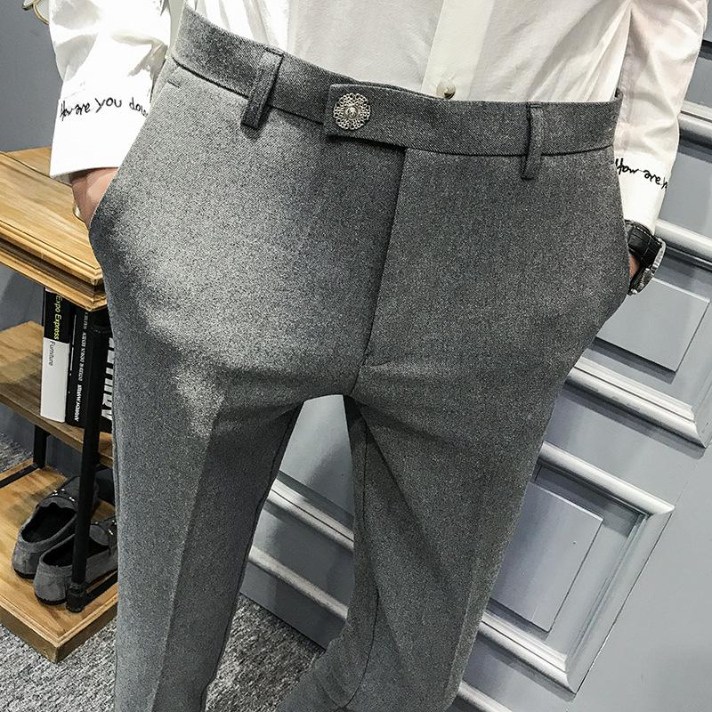 春装新款英伦时尚休闲裤个性百搭青年小脚发型师西裤免烫男装 一般在付款后3-90天左右发货,具体发货时间请以与客服协商的时间为准