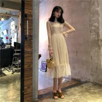 春季新款复古韩国双层蕾丝拼接打底连衣裙淑女气质百搭显瘦中长裙