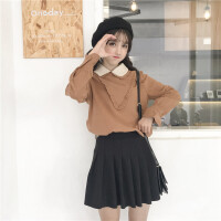 小清新衬衫女日系软妹秋冬新款洋气双层荷叶娃娃领学生打底上衣