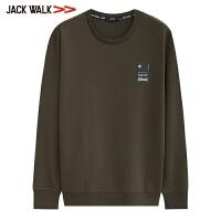 【满399减80】拉夏贝尔男装Jackwalk100%纯棉圆领卫衣新品套头打底衫男