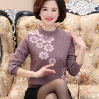 新款冬装加厚毛衣打底衫妈妈装上衣中老年人女士50岁60针织羊毛衫