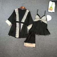 丝绸性感情趣吊带睡衣女夏三件套带胸垫女士秋季长袖薄款冰丝套装 黑色 (三件套)