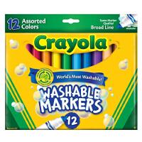 美国Crayola绘儿乐 12色可水洗粗头马克笔 水彩笔 套餐组 58-7812