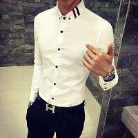 新品18春装新款男士潮流简约免烫长袖衬衫韩版英伦修身青年织带衬