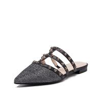 【领券减100】迪芙斯(D:FUSE)女鞋2019年春季专柜同款羊皮革休闲时尚拖鞋DF91110016