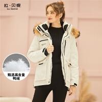拉夏贝尔工装羽绒服女2018新款欧货冬款时尚韩版加厚白色短款外套