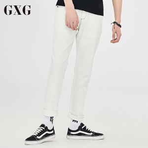 GXG休闲裤男装 秋季男士时尚休闲都市白色流行斯文绅士修身休闲裤