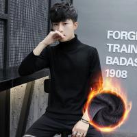 韩版打底白色学生简约百搭加绒厚针织衫冬季高领毛衣男士羊毛衫