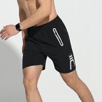 运动短裤男 跑步训练健身夏季新品轻薄简约五分裤 黑色拉链款