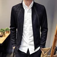 新款中国风秋冬男士外套修身立领休闲黑夹克时尚暗花潮短款男装上