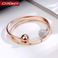 钛钢开口手镯 女生镀18K玫瑰金手环简约个性情侣首饰