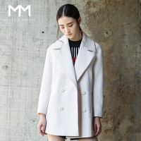 麦檬商场同款MM麦檬2016冬装新款韩版翻领中长款羊毛大衣毛呢外套