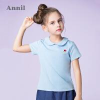 【3件3折:50.7】安奈儿童装女童T恤短袖翻领春夏新款简约领口彩色撞边上衣薄