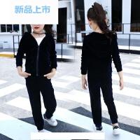 女童天鹅绒休闲时尚套装2018春秋童装中大儿童金丝绒运动两件套