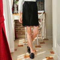 冬装新品蕾丝包臀裙高腰毛呢半身裙羊毛裙女S640404Q10
