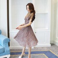 夏季女装新款圆领雪纺吊带连衣裙韩版中长款复古碎花两件套潮
